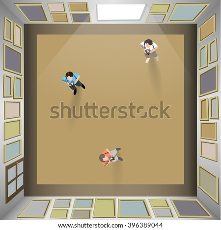 Paintings On Walls Top View People Stock Vector (2018) 396389044 ...