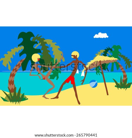 Pair dance. Dancing together. Dancing couple. Marine tropical beach. Cartoon. Flat.