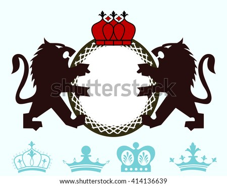 Pair fo Loins and crown Emblem  - additional crown choices  - stock vector