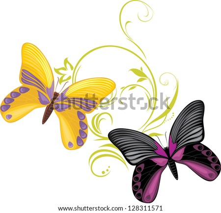 Pair of a bright butterflies with ornamental sprig. Vector