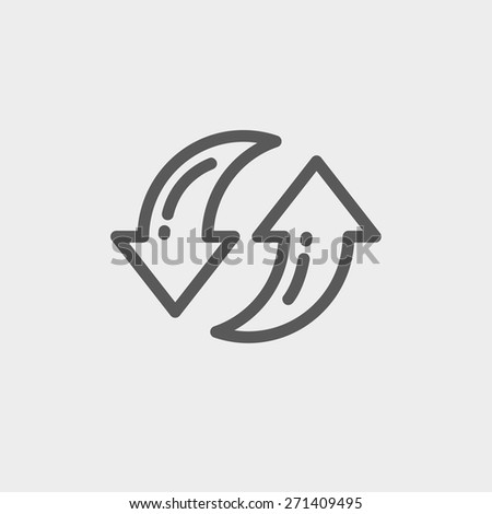 Pair of arrow icon thin line for web and mobile, modern minimalistic flat design. Vector dark grey icon on light grey background. - stock vector