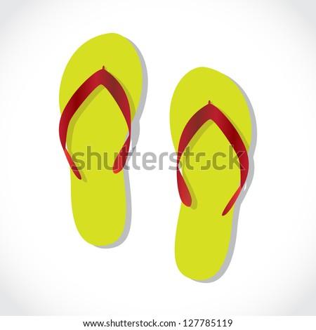 pair of beach sandals, illustration - stock vector