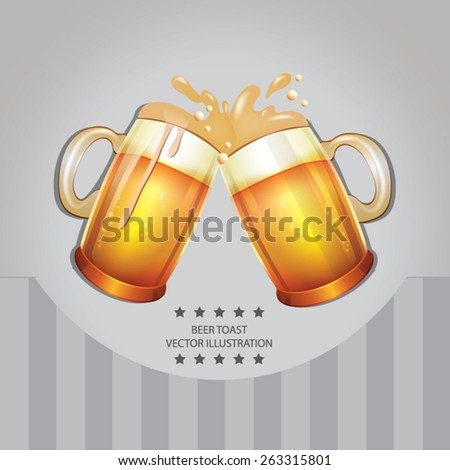 Pair of beer glasses making a toast - stock vector