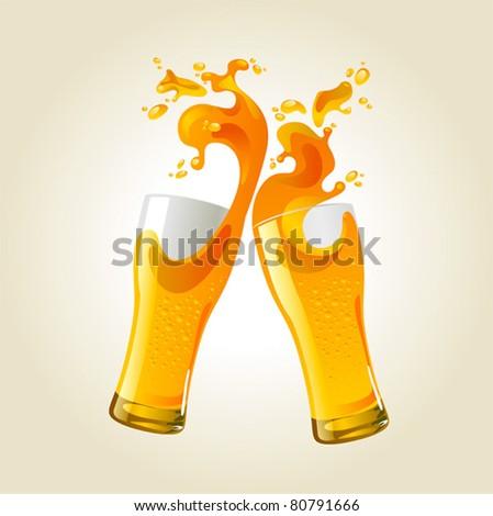 Pair of beer glasses making a toast. Beer splash - stock vector
