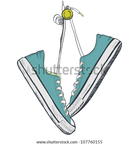 Pair of blue sneakers on the white background drawn in a sketch style. Sneakers hanging on a peg. Vector illustration. - stock vector