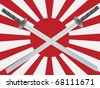 pair of crossed wakizashi swords against Japanese battle flag - stock vector