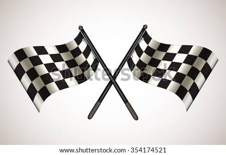 "Pair of crossing race ""Go"" flags. Vector illustration for your graphic design."