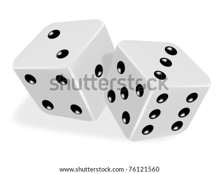 pair of dice roll on the game table - vector illustration of gambling symbol - stock vector