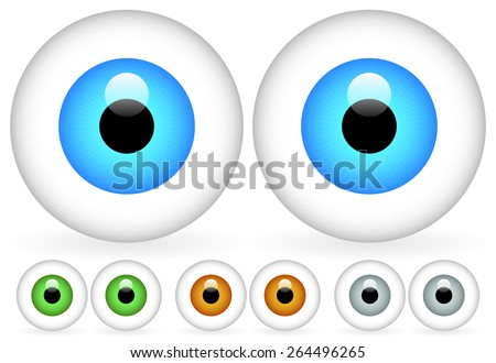 Pair of Eyes, 4 Bright Colors - stock vector