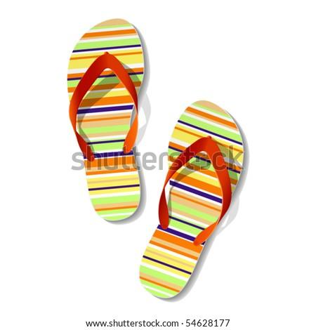 Pair of flip flops. Vector. - stock vector