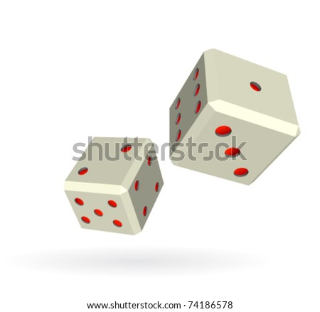 Pair of gambling dice isolated on white - stock vector
