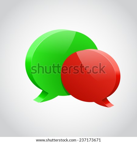 Pair of glossy chat bubble. Vector illustration - stock vector