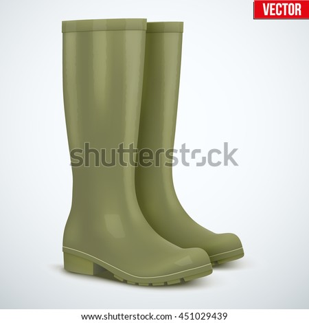 Pair of green rubber hunters and fisherman high boots. Symbol of hunting and fishing. Vector illustration Isolated on white background. - stock vector
