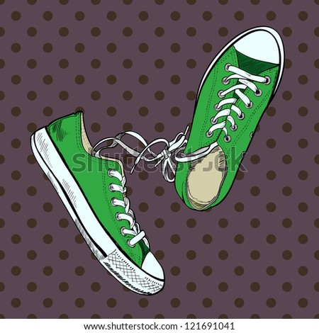 Pair of green sneakers on the polka dot background drawn in a sketch style. One gumshoe lying on the side. Vector illustration. - stock vector