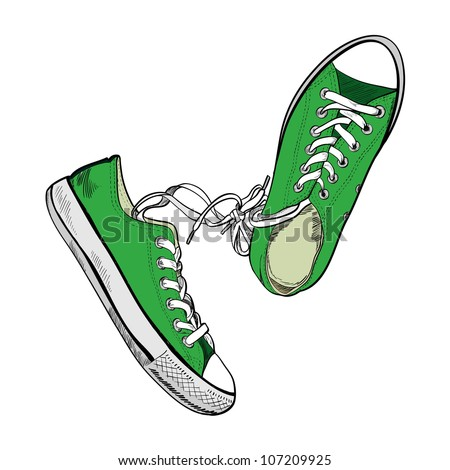 Pair of green sneakers on the white background drawn in a sketch style. One gumshoe lying on the side. Vector illustration. - stock vector