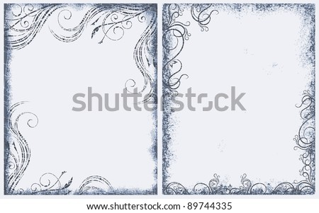 Pair of grunge frames. - stock vector