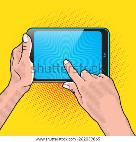 Pair of Hand and Touch Tablet Portable PC - stock vector