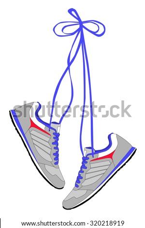 Pair of sneakers hanging