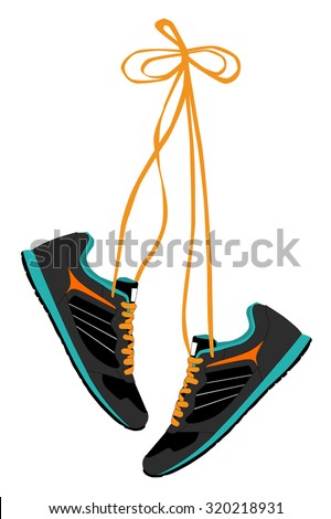 Pair of Hanging Sneakers - Vector - stock vector