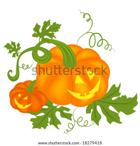 Pair of happy Halloween pumpkins - stock vector
