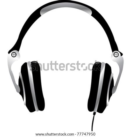 Pair of headphones on white background - stock vector