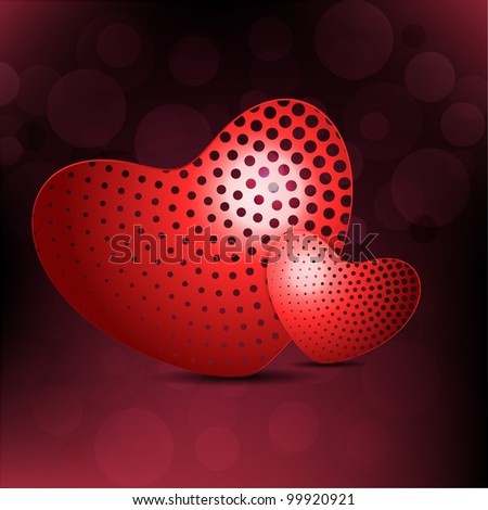 Pair of heart shapes in red color with abstract design on colorful background.EPS 10, vector illustration. - stock vector