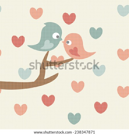 Pair of love birds sitting on a tree branch on hearts background.