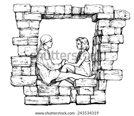 pair of lovers in the window - stock vector
