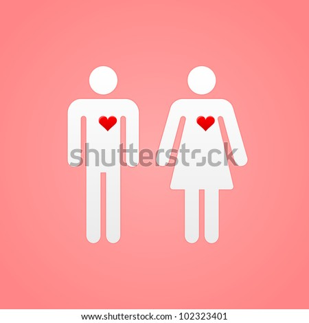 Pair of Lovers with Hearts - stock vector
