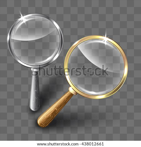 Pair of magnifying glasses on abstract background. Vector illustration. - stock vector