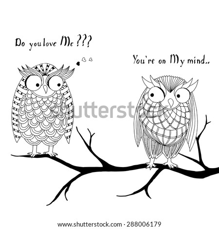 Pair of owls - stock vector