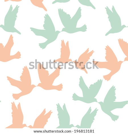 Pair of pigeons on a white background. Seamless pattren pastel color. vector