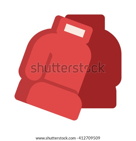 Pair of red leather boxing gloves isolated on white punch equipment protection vector. Boxing red gloves punch equipment and protection boxing red gloves. Boxing red gloves fight competition. - stock vector