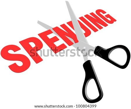 Pair of scissors cuts business or government spending expenses to lower debt