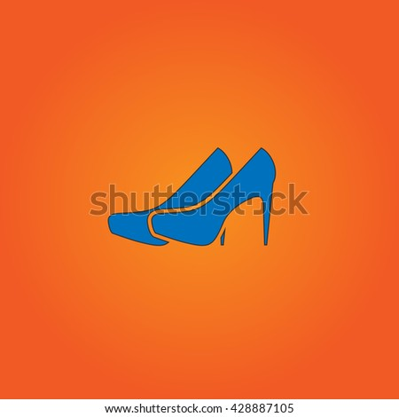 Pair of shoes. Blue flat icon with black stroke on orange background. Collection concept vector pictogram for infographic project and logo