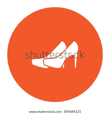 Pair of shoes. Flat white symbol in the orange circle. Vector illustration icon