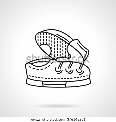 Pair of shoes with lace. Sport shoes. Kids footwear. Vector icon flat thin line style. Element for web design, business, mobile app.