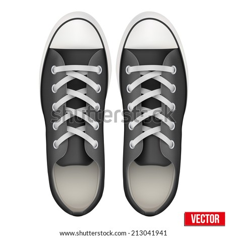 Pair of simple sneakers. Top view Example gumshoes. Realistic Editable Vector Illustration isolated on white background. - stock vector