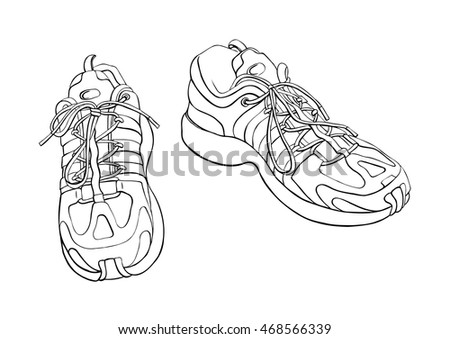 Pair of sneakers on the white background drawn in a sketch style.