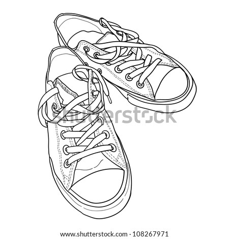 Pair of sneakers on the white background drawn in a sketch style. Vector illustration. - stock vector
