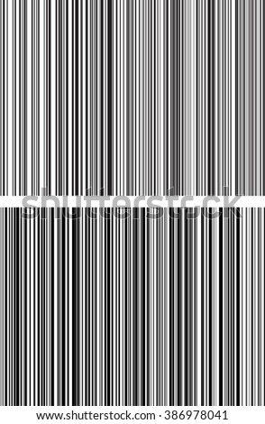 Pair of straight, parallel black and white lines from thick to thin to down. Vertical repetitive line.