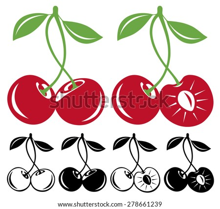 Pair of sweet cherries in color and black and white, whole and cut, vector illustration - stock vector