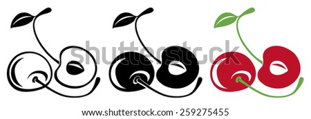Pair of sweet cherries, whole and halves with curvy stems, vector illustration - stock vector