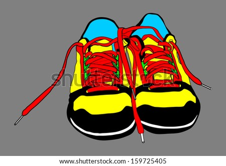 Pair of tying sports shoes vector isolated on gray background .