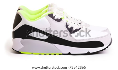 Pair of white sneakers, a side view.Vector illustration - stock vector