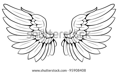 pair of wings - stock vector