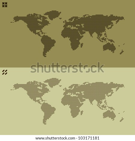 pair of world map built from two types of stitches - cross stitch, and simple line - stock vector