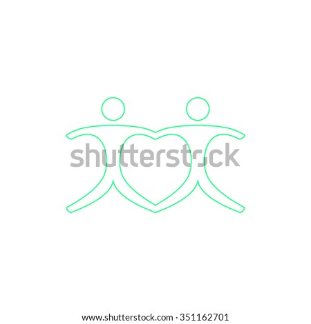 Pair Outline vector icon on white. Line symbol pictogram  - stock vector