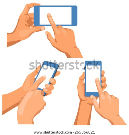 Pairs of naked male hands with phones. /There is illustration of some pairs of naked male hands in different positions. It is phone in left hand. The right hand pointing finger in the screen.  - stock vector