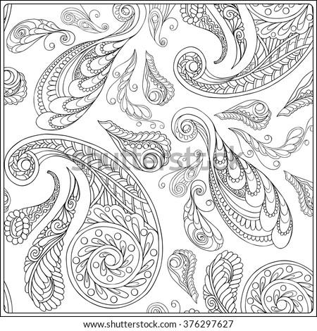 Paisley Mandala Pattern Frame Square Coloring Stock Vector 376297627